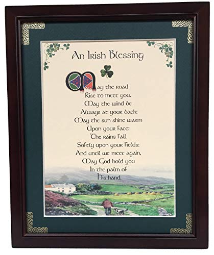 (Irish Blessing - May the Road Rise to Meet You - Personalizable Framed Green Matted Blessing)