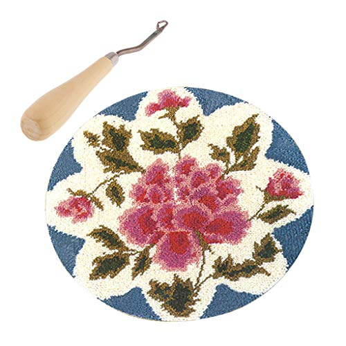 (CUTICATE Rose Flower Latch Hook Rug Making Kits for Kids Children with Wood Crochet Hook and All Tools)