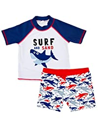 SUPEYA Baby Boys Cartoon Shark Print Tops Shorts Rash Guard Swimwear Bathing Suit