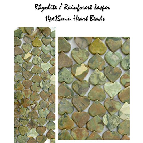Genuine Rhyolite, Rainforest Jasper Gemstone 14x15mm Heart Beads, 16in Strand for Jewelry Making (Rhyolite Jasper Pendant)