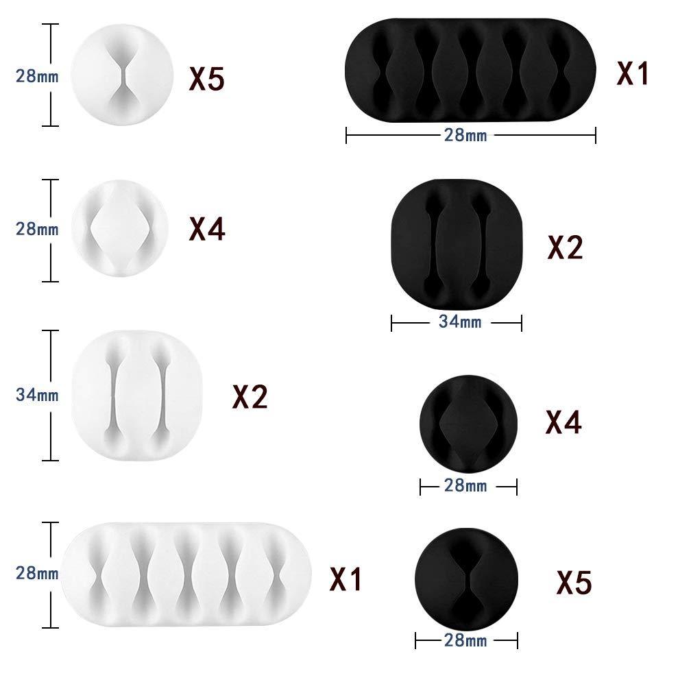 Lot de 30 pinces /à c/âble noires SACONELL solides support r/églable pour la gestion des c/âbles pour la maison//le bureau//la cabine//la voiture//la table de chevette//le bureau auto-adh/ésives