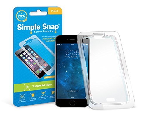 Simple Snap Tempered Glass Screen Protector for Apple iPhone 6 High Definition (HD) Oleophobic - Maximum Clarity and Touchscreen Accuracy