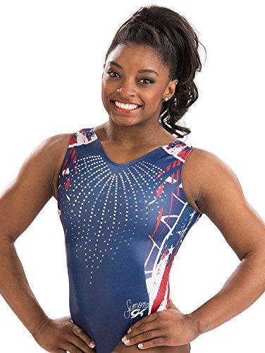 GK Gymnastics Leotards for Girls & Women Simone Biles Firecracker (Blue) One Piece Athletic, Dance & Ballet Leotard | Kids Costumes & Dancewear Apparel