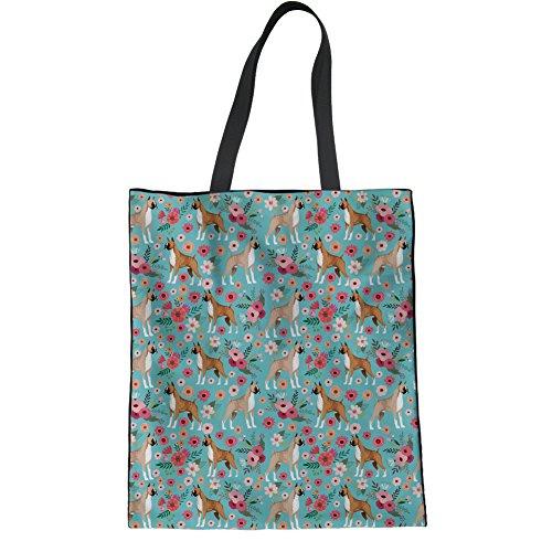 Bag Shoulder Linen Yoga Terrier HUGS Casual Boston Handbags Floral Tote IDEA Boxer Beach Bag Hipster Ladies FwaFfqX