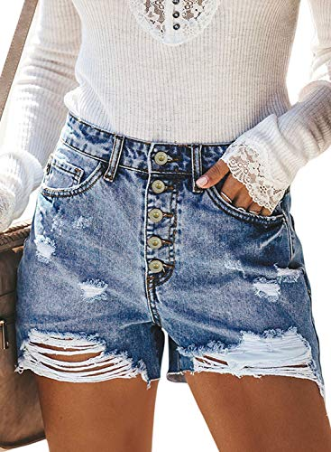 BLENCOT Women's Summer Junior Ripped Stretchy Frayed Hem Slim Distressed Denim Jean Shorts Light Blue 33-34 2XL Distressed Denim Jean Shorts