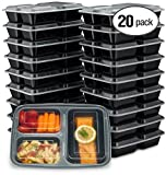 EZ Prepa [20 Pack] 32oz 3 Compartment Meal Prep Containers with Lids - Bento Box - Durable BPA Free Plastic Reusable Food Storage Container - Stackable, Reusable, Microwaveable & Dishwasher Safe