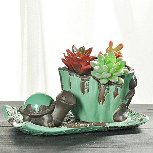 YOURNELO Retro Ceramic Animal Plant Flower Pot Succulent Planters Vase ()