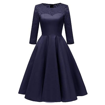 Fuxitoggo Vestido de Boda de la Princesa del cordón del Partido de la Vendimia de Las