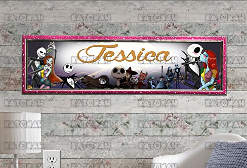 Customized Name Painting Nightmare before Christmas Poster With Your Name On It Personalized Banner With Hard Frame