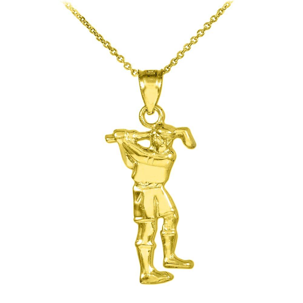 10k Yellow Gold Golfer Sports Charm Pendant Necklace