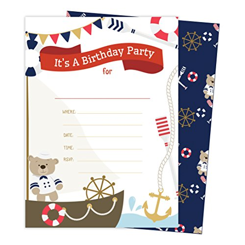 Nautical Style 2 Happy Birthday Invitations Invite Cards (25 Count) with Envelopes and Seal Stickers Boys Girls Kids Party (25ct)]()