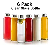 : 18 Oz Glass Water Bottle - 6 Pack With Stainless Steel Caps - For Beverage and Juicer Use - Best Reusable Sports Drinking Bottles for Fresh Juices, Juicing, Tea & Bulk Beverages – By Katzco
