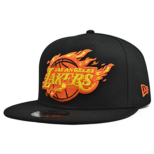 New Era Los Angeles Lakers BLACK FIRE 9Fifty Snapback NBA Adjustable Hat - Black, Orange by New Era