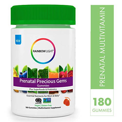 Rainbow Light Prenatal Precious Gems Non-GMO Project Verified Multivitamin Gummies Plus Superfoods & Probiotics - 180 Tablets