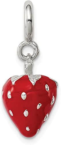 Sterling Silver Enameled Strawberry Charm