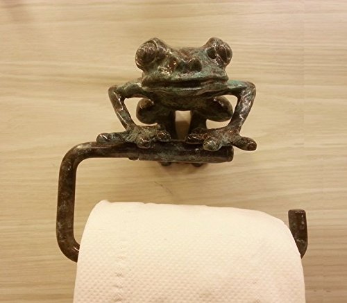 Vintage Brass Toilet Paper Holders Mounted Wall,Antique Style Furniture Roll Tissue Paper,for Bathroom Decorated, (Green Frog)