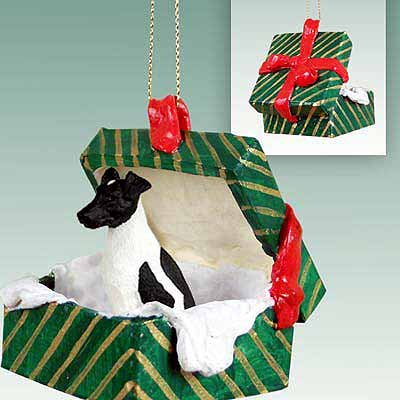 Conversation Concepts Fox Terrier Black & White Gift Box Green Ornament ()