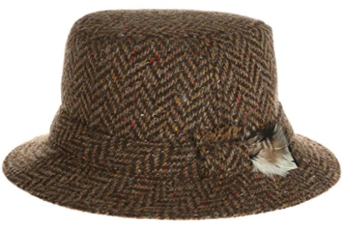 (Hanna Hats Men's Donegal Tweed Original Irish Walking Hat (Medium, Brown Herringbone))