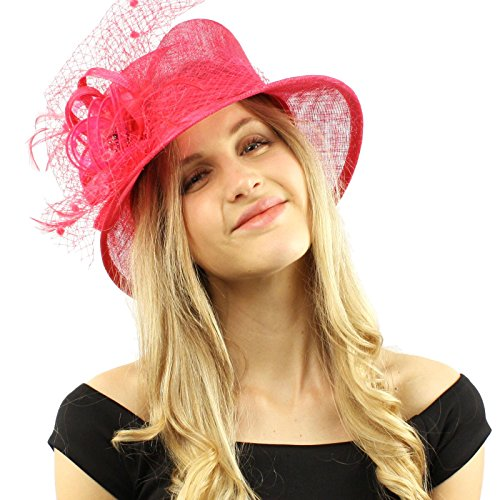 ed3cb4ca0e0 Elegant Victorian Netted Overlay Simamay millinery Bucket Cloche Dress Hat  Fuchsia at Amazon Women s Clothing store
