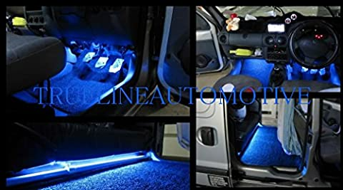 2 Piece Interior Footwell Trunk Light Strips Under Dash Kit (Blue) (2002 Civic Dash Kit)