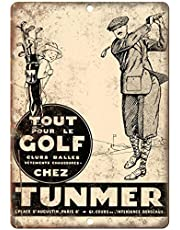 Tunmer Golf Clubs Ballen Lichtgewicht metalen tin plaque stevige en duurzame retro look die nooit vervaagt 20 * 30 cm