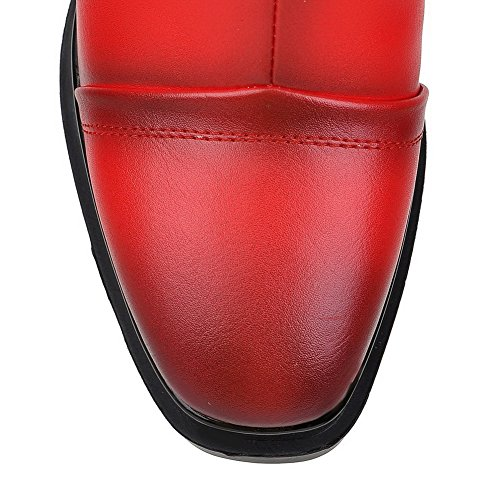 with Heels Boots High Allhqfashion Red and Decoration Women's Metal PU Platform HwOHa6