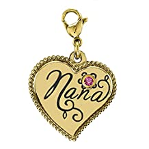 Yellow Tinted Stainless Steel Nana Dangle Heart Charm w/Swarovski Birthstone