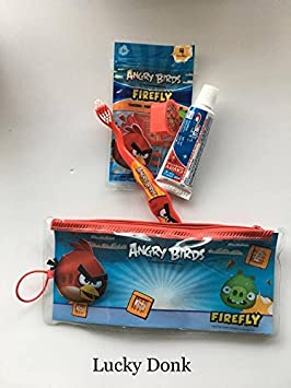 Firefly Angry Birds Pájaro Rojo Diseño Cepillo de dientes Kit de viaje w/pasta de dientes, tapa y hilo: Amazon.es: Oficina y papelería