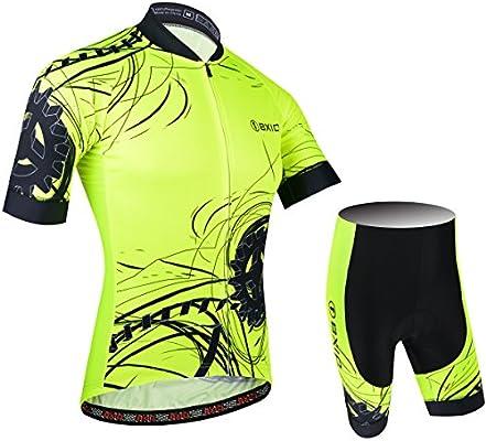 BXIO Moda Hombre Jersey de Ciclo de la Bici Amarillo Fluo Carrera ...