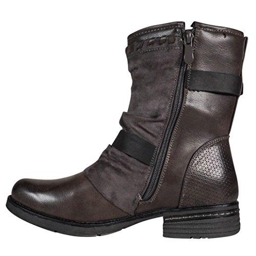 Damen Worker Stiefel gefüttert Stiefeletten Boots Outdoor Winter Biker Grau ST101
