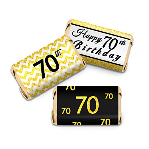 70th Birthday Party Mini Candy Bar Wrappers - Black and Gold - 63Stickers