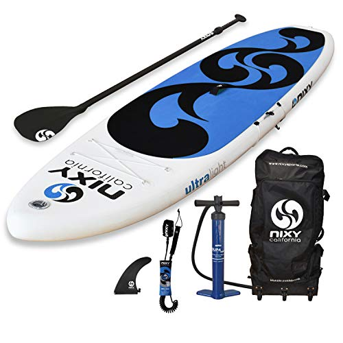 SUP NIXY Inflatable Stand Up Paddle Board for Beginners and Yoga. Ultra Light 10'6' Venice Paddle Board Built with Advanced Fusion Laminated Dropstitch Technology (Aqua)