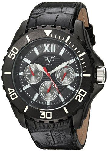 V19.69 Italia Men's Quartz Metal and Leather Casual Watch, Color:Black (Model: 37VM102001A)