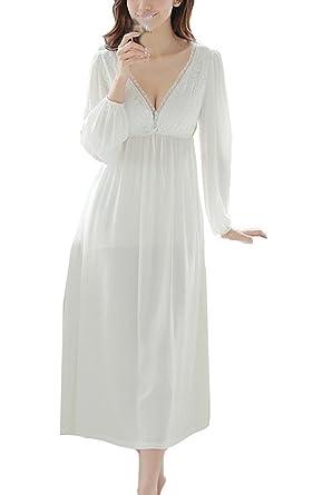 hot sale online c1dca cc4bc Cheerlife Damen Nachthemd Baumwolle Langarm V-Ausschnitt Spitze Nachtkleid  Schlafkleid Nachtwäsche Lang Vintage