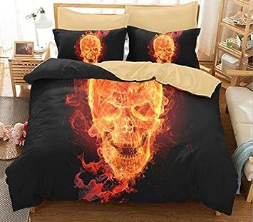 trust 100 3d angry skull bedding sets polyester fully reversible modern flower skull comforter set