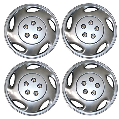- Tuningpros WC3-15-9941-S - Pack of 4 Hubcaps - 15-Inches Style 9941 Snap-On (Pop-On) Type Metallic Silver Wheel Covers Hub-caps