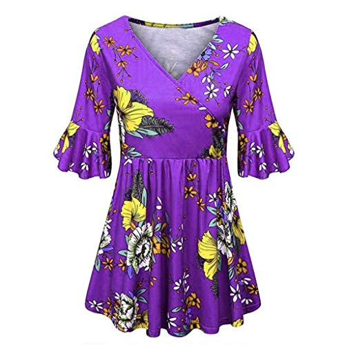 Kawaiine Women's Vintage Print V Neck Bell Sleeve Sleeves Loose Sexy Shirt Blouse Purple