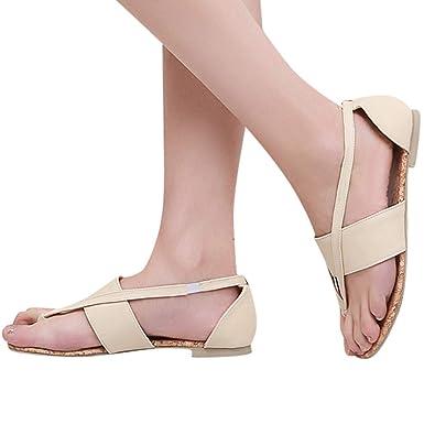 a59dceab0ce433 Women s Summer Clip-Toe Flat Sandals - Casual Retro Cut Out Flip Flops  Roman Sandals