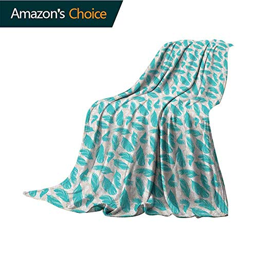 (Turquoise Knit Blanket,Quills Design Bird Feathers Abstract Animal Elements Nature Inspired Super Soft and Comfortable,Suitable for Sofas,Chairs,beds,60