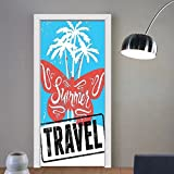 Gzhihine custom made 3d door stickers Vintage Decor Butterflies on Palm Tree Beach with Summer Travel Lettering Sun Print Turquoise Red For Room Decor 30x79
