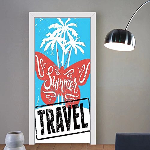 Gzhihine custom made 3d door stickers Vintage Decor Butterflies on Palm Tree Beach with Summer Travel Lettering Sun Print Turquoise Red For Room Decor 30x79 by Gzhihine