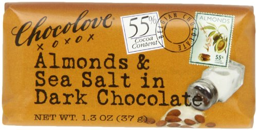Chocolove Chocolate Bar  Almonds   Sea Salt In Dark Chocolate  1 3 Ounce  Pack Of 12