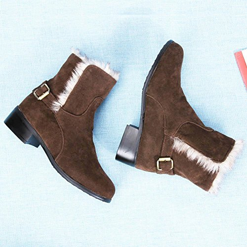 Suede Flat Dark Brown Snow Autumn Ankle Winter Boots amazingdeal Fleece Women Boots Imitation yET8qFwxBx
