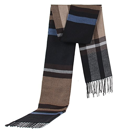 Runtlly Winter Classic Cashmere Soft Elegant Fashion Scarf BlueBrownBlack