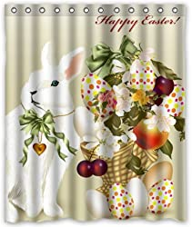Outlet-Seller Custom Happy Easter Rabbit and Eggs Waterproof Bathroom Fabric Shower Curtain