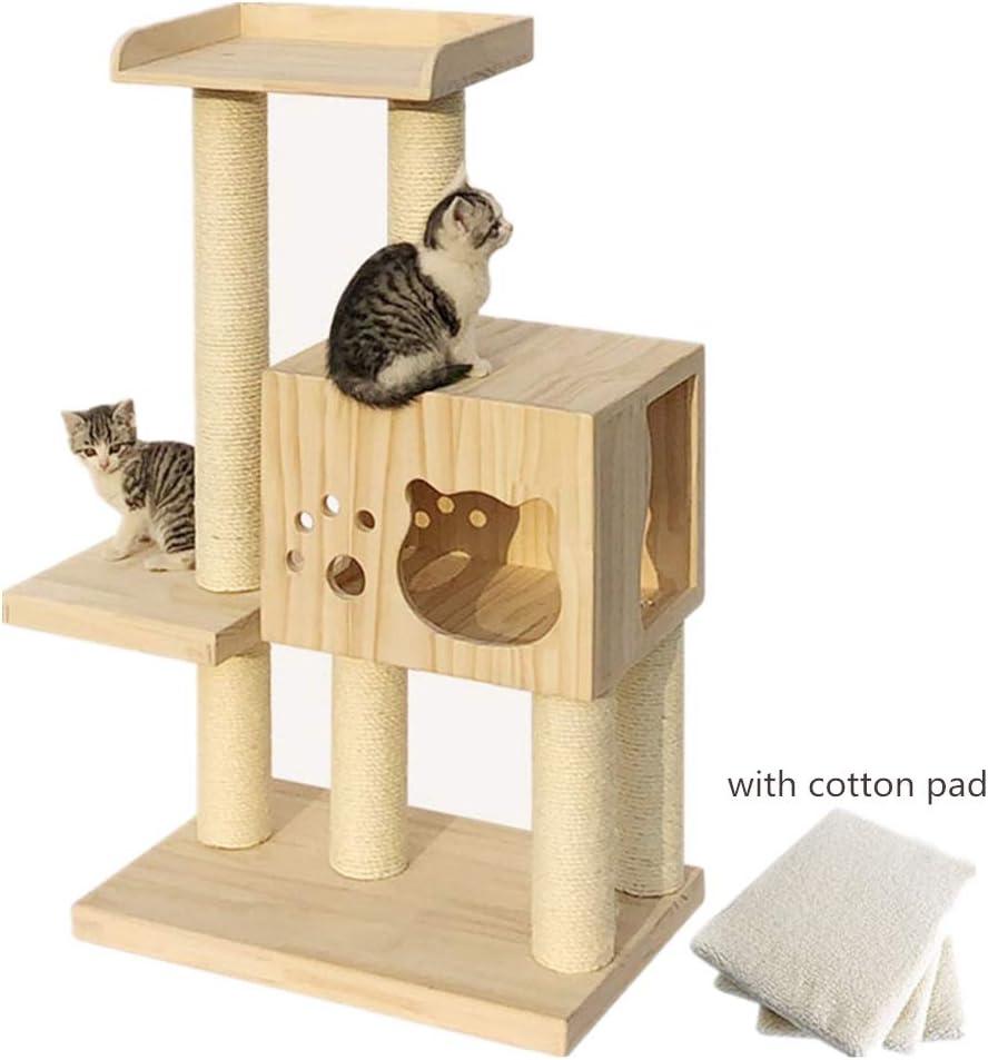 猫の塔 木造住宅の猫の猫ジャングルジム猫スクラッチキャットタワー猫のハンモック木の家での活動は、タワーツリークライミングとまり木プラットフォームをプレイした後、 豪華な猫の (色 : Natural, Size : As pictiure)