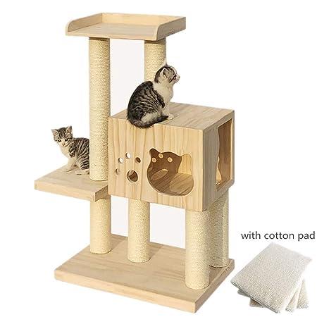 Gato árbol de la torre, Gato de madera casa del gato ...