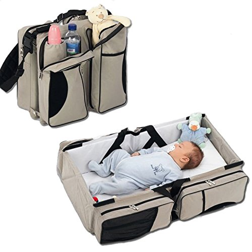 3 in 1 - Diaper Bag - Travel Bassinet - Change Station - (Cream) - Multi-purpose Tote