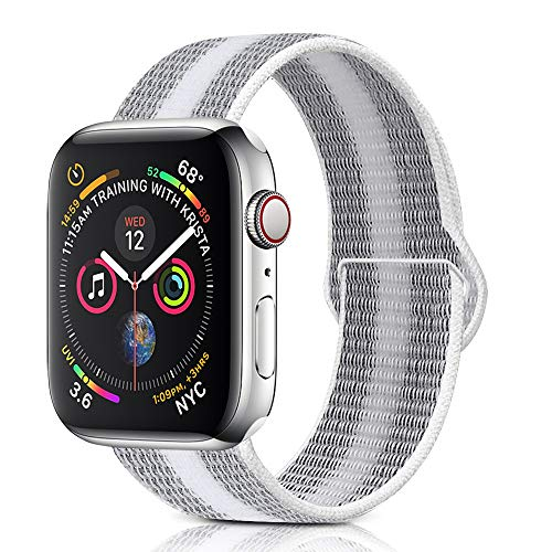 (Winmy Sport Loop Band Compatible with Apple Watch Bands 44mm 42mm, Lightweight Breathable Woven Nylon Replacement Strap for iWatch Series 4 3 2 1 - White Stripe)