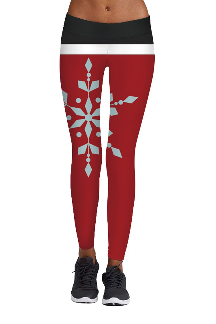 Pink Queen Women's Fold Over Waistband Snowflake Leggings Black And Red, Christmas Pattern 20, US S-M